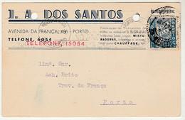 Commercial Card * Portugal * 1939 * Porto * J. A. Dos Santos * Holed - 1910-... République