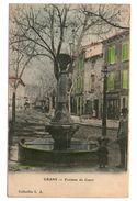 13 Grans La Fontaine Du Cours Cpa Animée Cachet Miramas A Avignon 1905 - Autres Communes