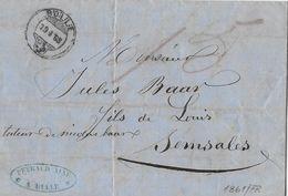 BoM Brief Ohne Marke → 1861 BULLE Nach SEMSALES  ►P.Peyraud Bulle◄ - Schweiz