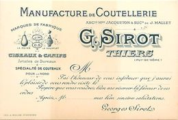 - Puy De Dome -ref-703- Thiers - Carte De Visite Manufacture De Coutellerie G. Sirot - Coutelleries - Metiers - - Thiers