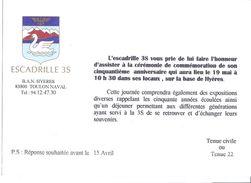 B.A.N. ESCADRILLE 3S  TOULON NAVAL  INVITATION CEREMONIE DE COMMEMORATION DU 50è ANNIV EN MAI A HYERES VAR - Documenten