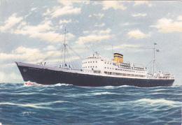 "Carte Illustrée Par Astor - The Hellenic Mediterranean Lines Piraues - Paquebot M/s ""MASSALIA"" Pas Circ - Piroscafi"