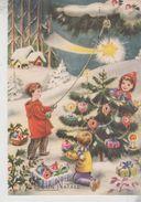 Buon Natale Merry Christmas Joyeux Noël Frohe Weihnachten Paesaggio Montano Albero Di Natale Stella Cometa Vg - Noël