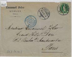 1889 Stehende Helvetia/Helvetie Debout 67B/59XB - Stempel: Wohlen To Paris 20.III.89 - 1882-1906 Wappen, Stehende Helvetia & UPU