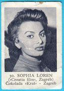 SOPHIA LOREN -  Yugoslavian Vintage Chocolate Card Issued 1960's * Actress Actrice Italy Italia - Cinema & TV