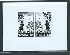 Tonga 1993 Family Planning 60s Pair Black & White Proof - Tonga (1970-...)