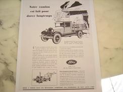 ANCIENNE PUBLICITE CAMION FORD DURE LONGTEMPS 1929 - Camion