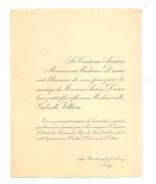 Faire-part Mariage M. Antoine DRESSE ( Petit Fils De La Comtesse ANCION ) / Mlle Gabrièle VILLIERE - 1928 LIEGE.(b209) - Mariage