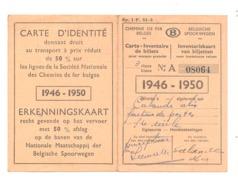 Carte D'identité - 50% De Réduction SNCB - Chemins De Fer, Train,...1946/50 (b209) - Abonnements Hebdomadaires & Mensuels