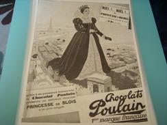 ANCIENNE PUBLICITE PRINCESSE DE BLOIS  CHOCOLAT POULAIN 1929 - Posters