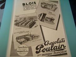 ANCIENNE PUBLICITE CHOCOLAT POULAIN USINE DE BLOIS  STRASBOURG 1929 - Posters