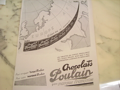 ANCIENNE PUBLICITE CHOCOLAT POULAIN PARIS HANOI 1929 - Posters