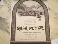 ANCIENNE PUBLICITE CHOCOLAT GALA PETER   1926 - Affiches