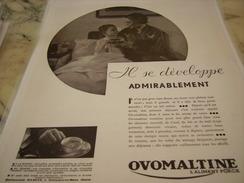 ANCIENNE PUBLICITE IL SE DEVELOPPE OVOMALTINE 1933 - Posters