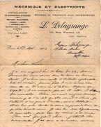 VP10.533 - Lettre - Mécanique & Electricité Industrielle .... L.DELAGRANGE à PARIS Rue Vincent - Electricity & Gas