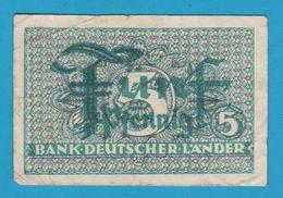 DEUTSCHLAND BANK DEUTSCHER LÄNDER 5 PFENNIG ND  (1948) Ro. 250 Banknote - [ 5] Ocupación De Los Aliados
