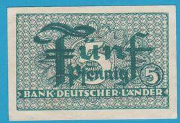 DEUTSCHLAND BANK DEUTSCHER LÄNDER 5 PFENNIG ND (1948) Ro. 250 Banknote - [ 5] 1945-1949 : Occupazione Degli Alleati