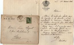 VP10.536 - Enveloppe & Lettre De Mr A. GEN Sacristain à N.D. De DOLE ( Jura ) - Manuscripts
