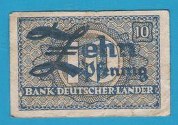 DEUTSCHLAND BANK DEUTSCHER LÄNDER 10 PFENNIG ND (1948) Ro. 251 Banknote - [ 5] 1945-1949 : Occupazione Degli Alleati