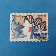 2002 ITALIA FRANCOBOLLO USATO STAMP USED - TELETHON - - 6. 1946-.. Repubblica