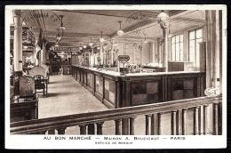 CPA ANCIENNE PRIVÉE- FRANCE- PARIS (75)- AU BON MARCHÉ- MAISON BOUCICAUT- SERVICE DE BANQUE GROS PLAN- 2 SCANS - Francia