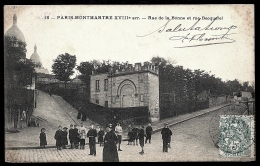 CPA PRECURSEUR FRANCE- PARIS- MONTMARTRE EN 1900 (75)- RUE DE LA BONNE ET RUE BECQUEREL- BELLE ANIMATION GROS PLAN- - Francia