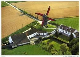 Onze-Lieve-Vrouw Lombeek - Roosdaal (Brab.) - Molen/moulin - Fraaie Luchtfoto V.d. Hertboommolen Opgezeild En In Werking - Roosdaal