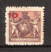 LIECHTENSTEIN 1924,  YVERT N° 62 A :  10 Sur 13 R Chaudron Dentelés 12 1/2  Neuf * / MH, TB Cote 20 Euros - Liechtenstein
