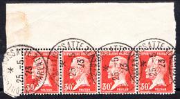 FRANCE - N° 173 - 30 C PASTEUR EN BANDE DE 4 BORD DE FEUILLE - OBLITERATION ANGOULEME. - 1922-26 Pasteur
