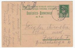 Yugoslavia FNRJ Postal Stationery Postcard Dopisnica Travelled 1949 Rateče-Planica To Zagreb B170720 - Postal Stationery