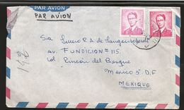 A) 1964 BELGIUM, BAUDOUIN KING, ROYAL MAIL, MULTIPLE STAMPS, AIRMAIL, CIRCULATED COVER FROM BRUSSELS TO MEXICO. - Airmail