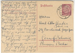G19 DR Ganzsache Postkarte P 227 Hindenburg 1939 15 Pf. Ausland Schweiz Handstempel Speyer S N. Genf - Alemania