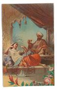 GRANDE CHROMO IMAGE DOS VIERGE 11X17.5 FEMME INDIENNE FUMANT - Other