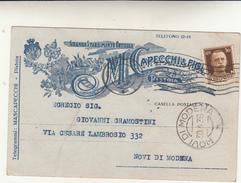 Pistoia Per Novi Di Modena Su Testatina Pubblicitaria Mascapecchi E Figli Stab. Orticolo 1936 - Commercio