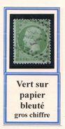 FRANCE- Y&T N°20- Vert Sur Papier Bleuté- Oblitéré Gros Chiffre - 1862 Napoléon III.