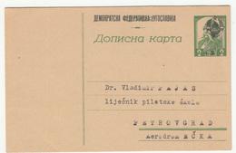 Yugoslavia DFJ Overprinted Serbian WWII Postal Stationery Postcard Dopisna Karta Censored Not Travelled B170720 - Interi Postali