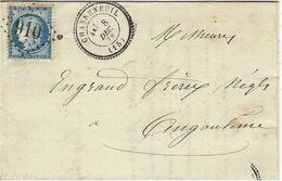 1873- Lettre De Chasseneuil ( Charente ) Cad T24 Affr. N°29 Oblit. G C 910 Pour Angoulême - SUPERBE - 1849-1876: Période Classique