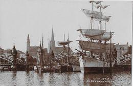 STETTIN → Hafen Mit Segelschiffe & Bahnhofsbrücke, Fotokarte Ca.1930 - Polen