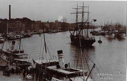 STETTIN → Hafen Mit Segelschiffe & Dampfschiffe, Fotokarte Ca.1930 - Polen