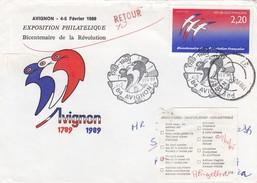 LETTRE 4 2 1989. VAUCLUSE AVIGNON POUR PRETORIA SOUTH AFRICA. ETIQUETTE NON DISTRIBUE ET  RETOUR - France