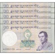 TWN - BHUTAN 29b - 10 Ngultrum 2013 DEALERS LOT X 5 - Prefix K UNC - Bhutan