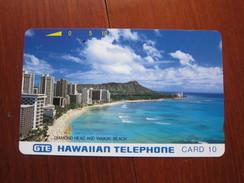 GTE Tamura Phonecard,the First Public Card, HAW-01 Diamond Head,silver Backsdie,used - Hawaii
