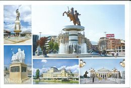 Macedonia Skopje.Fountain - Alexander The Great.horse And Monuments. UNUSED POSTCARD - Macédoine