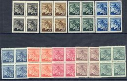 CZECHOSLOVAKIA 1945 Prague Definitive Set Of 9 In Blocks Of 4 MNH / **.  Michel 424-32 - Czechoslovakia