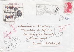 LETTRE LIBERTE DE GANDON. HERBLAY TAXE DE  3.80F INSECTES REFUSE REBUS - 1982-90 Liberté De Gandon
