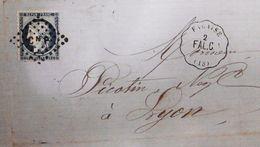 Lettre Avec Cérès N° 60C TAD Convoyeur Station Falaise 1874 - Marcophilie (Lettres)