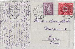1922 NÜRNBERG → Karte (Franz Jander Berlin) Mit Mischfrankatur In Die Schweiz - Allemagne