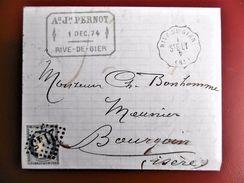Lettre Avec Cérès N° 60 TAD Convoyeur Station Rive De Gier 1874 - Postmark Collection (Covers)