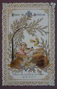 Image Pieuse, Enfant Jésus - Fleurs De Bethléem Posées Sur L'autel De La Crèche - Collage De Feuilles - Images Religieuses