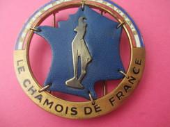 Insigne  De Sport/ SKI / Le Chamois De France/ Ecole Du Ski Français/Bronze Et Cuir/FIA/ Lyon/Vers 1970        SPO169 - Other